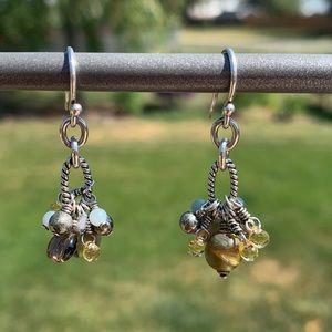 W1841 Silpada mixed bead earrings sterling silver